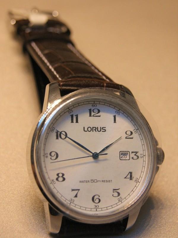 Lorus Quartz Staal SS Bruin Leder Wit RS985AX9