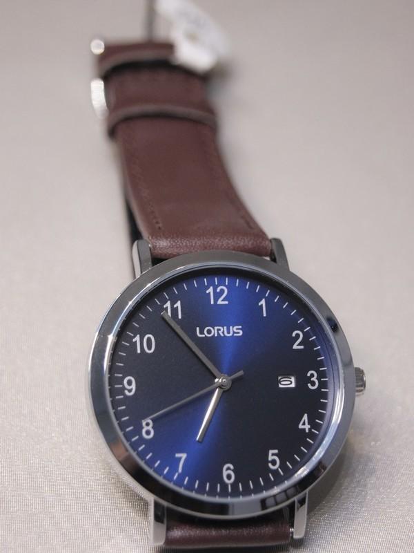 Lorus Quartz Staal Bruin Leder Blauw