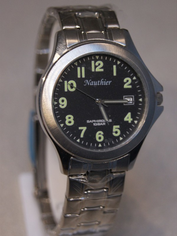 Nauthier Quartz Sapphire Staal SS Bracelet Zwart 1199429652