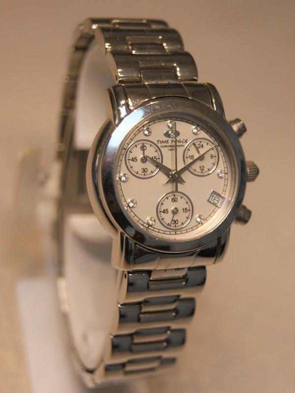 Time Force Quartz Chronograph Staal SS Bracelet Wit 2289L