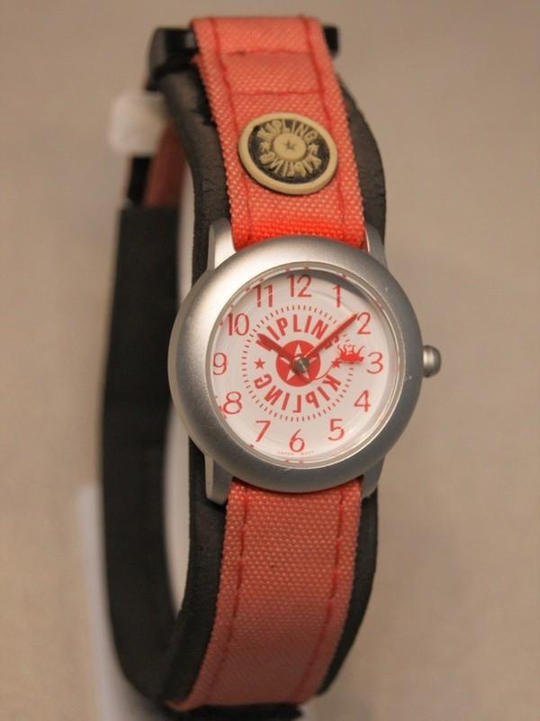 Kipling Basic Quartz Grijs Rood Velcroband Wit 94000.87
