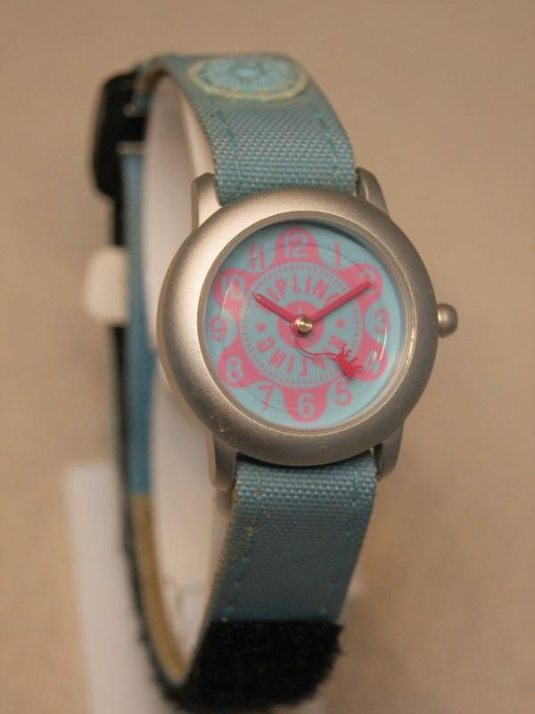 Kipling Basic Quartz Grijs Blauw Velcroband Blauw-roze 94001.06