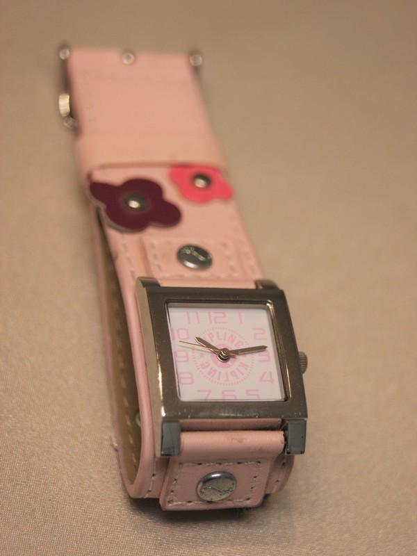 Kipling Quartz Staal SS Roze Leder Wit