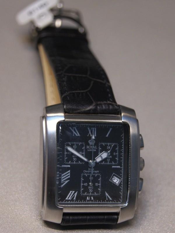 Royal London Quartz Chronograph Staal SS Zwart Leder Zwart RL-2202