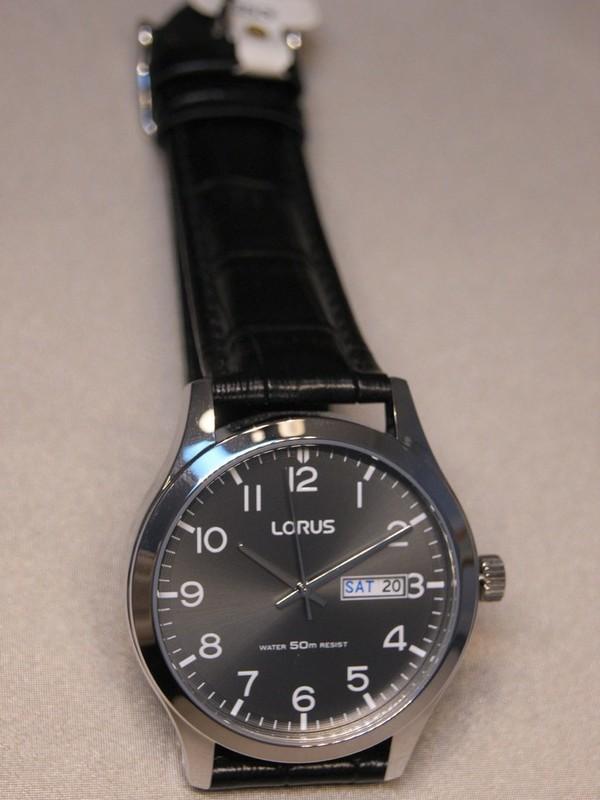 Lorus Quartz Staal Zwart Leder Donkergrijs RXN59DX9