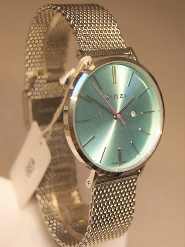 Zinzi Quartz Staal SS Mesh Bracelet Turquoise Z411