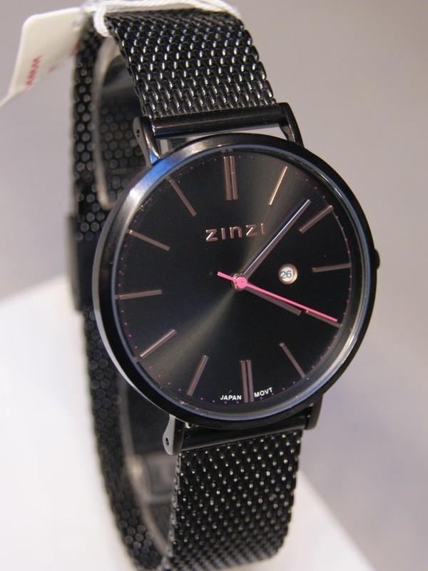 Zinzi Quartz Zwart SS Mesh Bracelet Zwart-rosé Z409