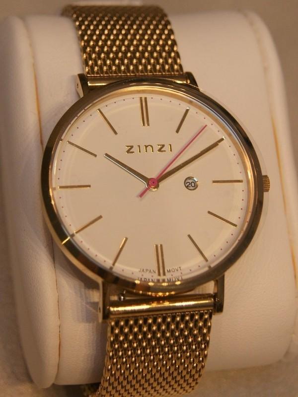 Zinzi Quartz Plaqué SS Mesh Bracelet Wit Z407