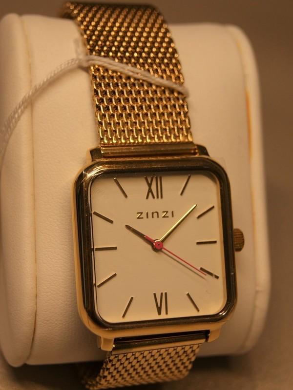 Zinzi Quartz Plaqué SS Mesh Bracelet Wit Z807