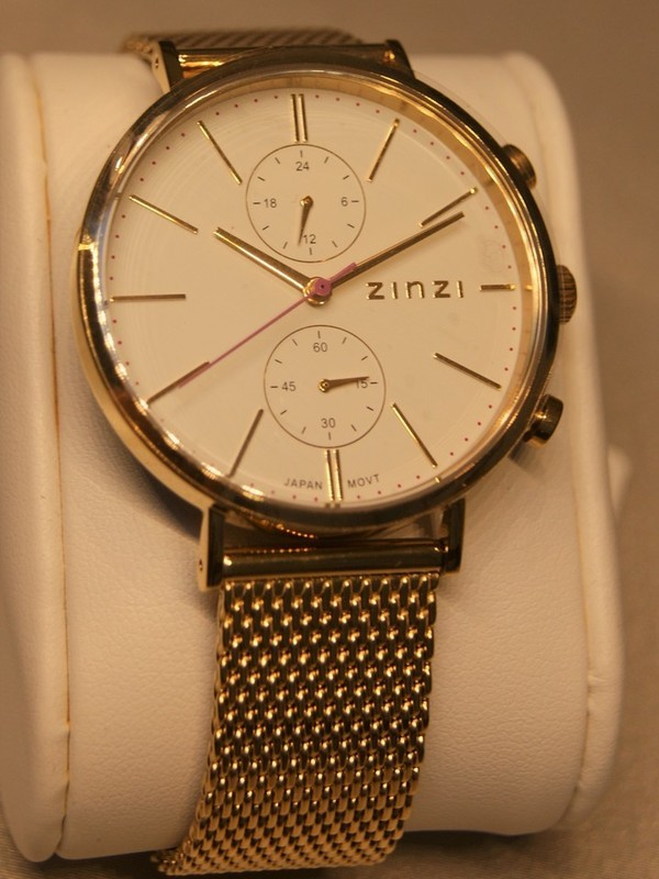 Zinzi Quartz Chronograph Plaqué SS Mesh Bracelet Wit Z707
