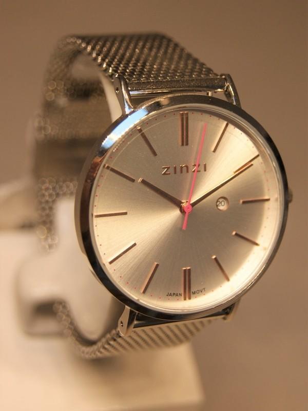 Zinzi Quartz Staal SS Mesh Bracelet Zilver-rosé Z412