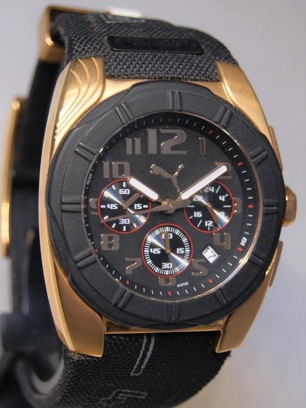 Puma Ocean Race Quartz Chronograph Zwart-rosé SS Zwart Kunststof Zwart PU101271003