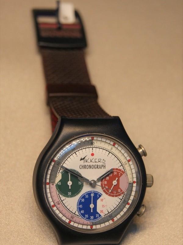Tikkers Quartz Chronograph Zwart Kunststof Rood Kunststof Wit