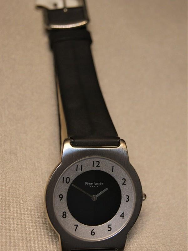 Pierre Lannier Quartz Staal Zwart Leder Zwart 141B1