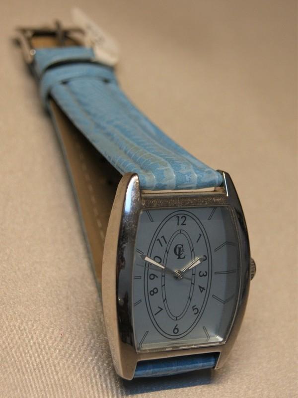 Cheté&Laroche Quartz Staal Blauw Leder Wit