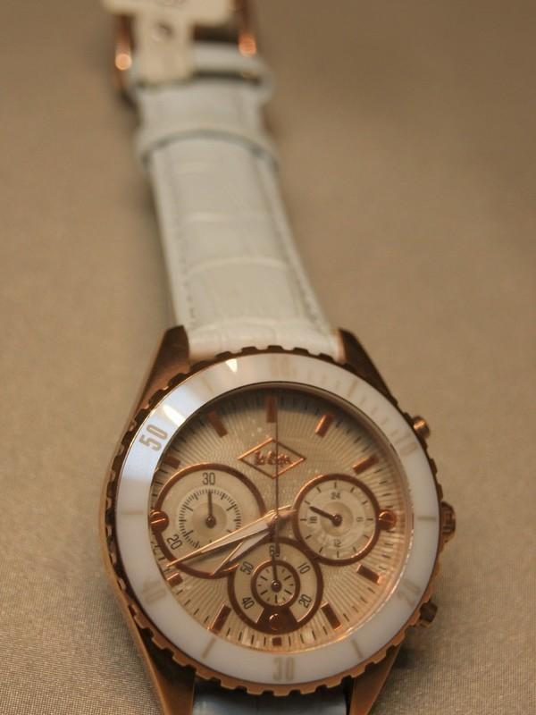 Lee Cooper Quartz Chronograph Rosé SS Wit Leder Rosé LC1307LB