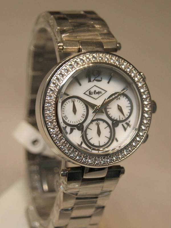 Lee Cooper Quartz Chronograph Staal SS Bracelet Wit LC1310LC