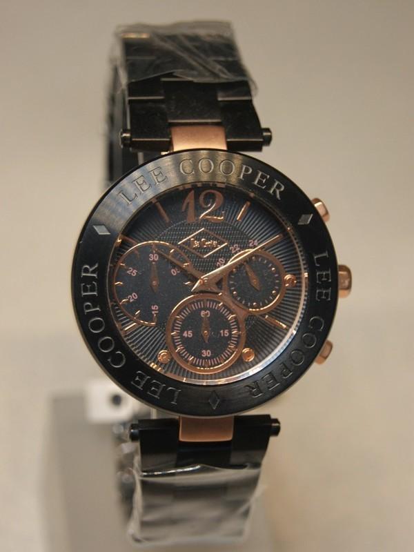 Lee Cooper Quartz Chronograph Rosé SS Zwart Bracelet Zwart LC1309LELRBR