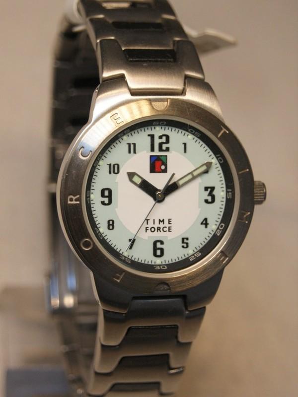 Time Force Quartz Staal Bracelet Grijsgroen 6168