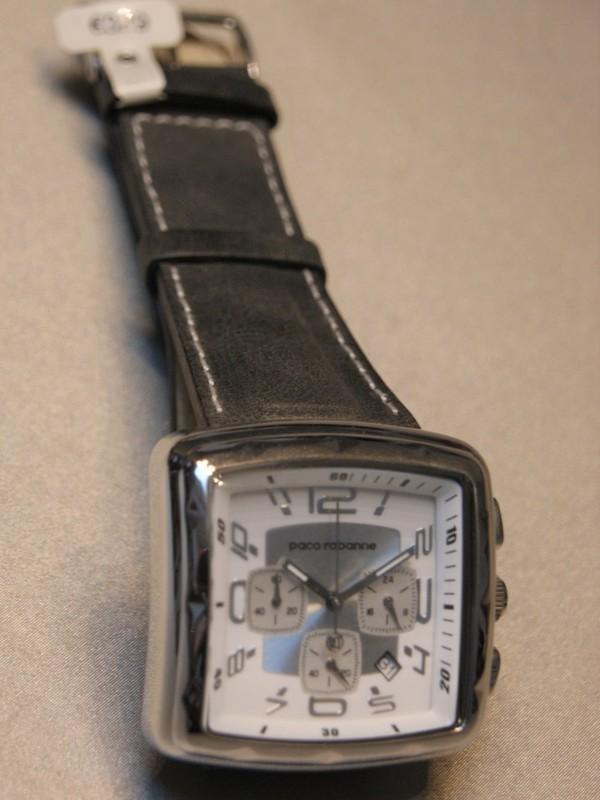 Paco Rabanne Quartz Chronograph Staal SS Donkergrijs Leder Wit PRH929