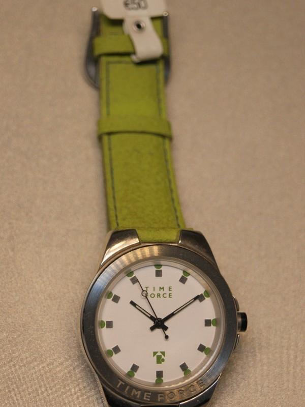 Time Force Quartz Staal Lentegroen Leder Wit 5852