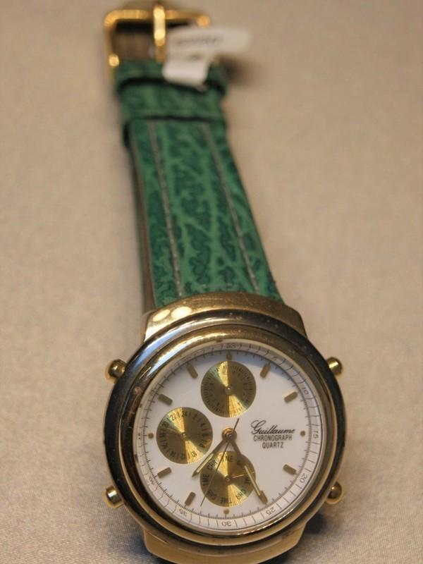 Guillaume Quartz Chronograph Bicolour Groen Leder Wit 4203