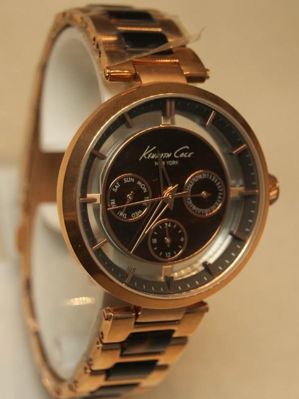 Kenneth Cole Quartz Chronograph Rosé SS Bracelet Bruin-zwart KC4929