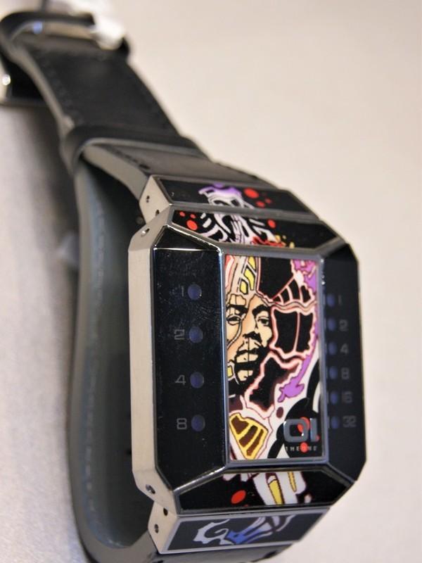 01 The One Binary Time Split Screen Quartz Staal SS Zwart Leder Multicolour SC118B1