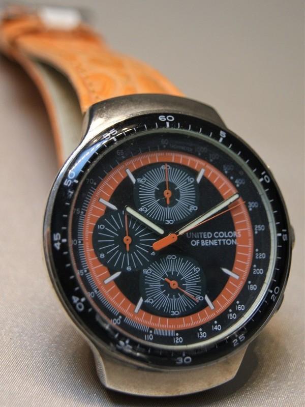 United Colors Of Benetton Quartz Chronograph Staal Oranje Leder Zwart-oranje