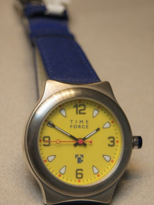 Time Force Quartz Staal Blauw Leder Geel 5932