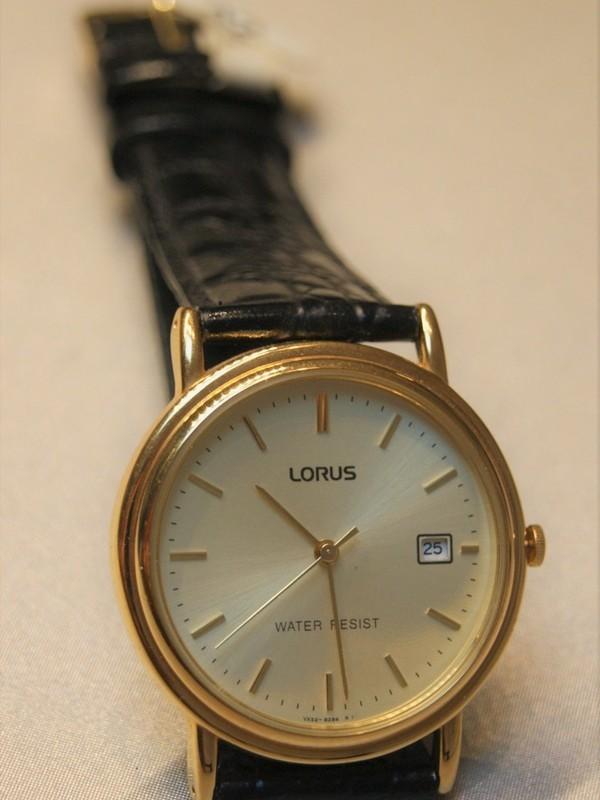 Lorus Quartz Plaqué Zwart Leder Goud RXD84AX9
