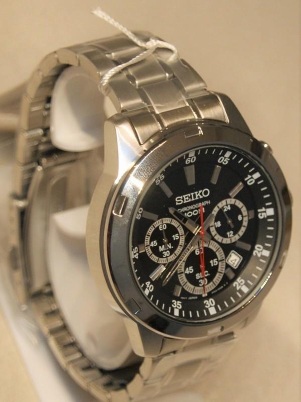 Seiko Quartz Chronograph Staal SS Bracelet Zwart SKS605P1