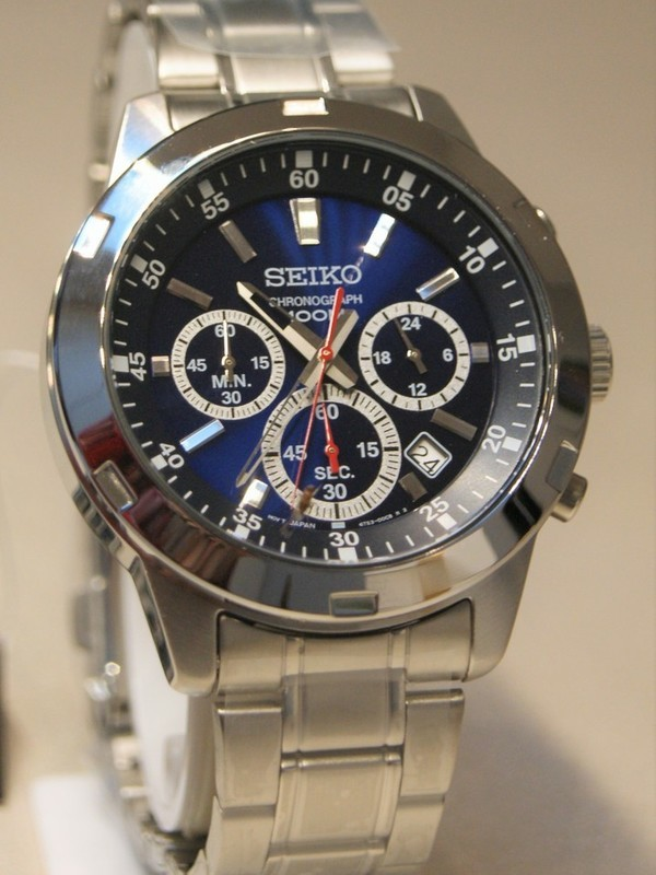 Seiko Quartz Chronograph Staal SS Bracelet Nachtblauw SKS603P1
