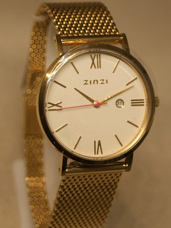 Zinzi Quartz Plaqué SS Mesh Bracelet Wit Z507