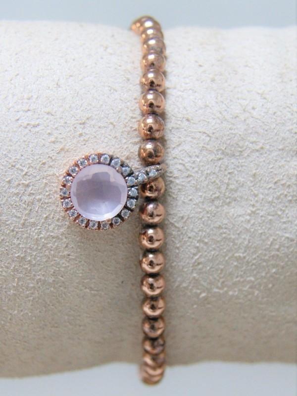 Armband met rosé zilveren parels, roze steen en zirconia