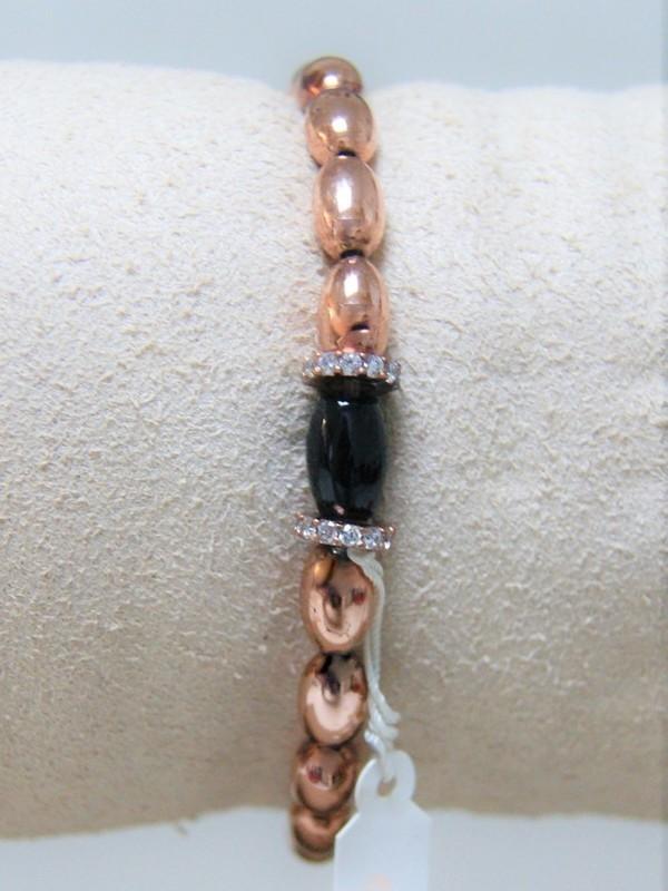 Armband met rosé zilveren parels, zwarte parel en zirconia