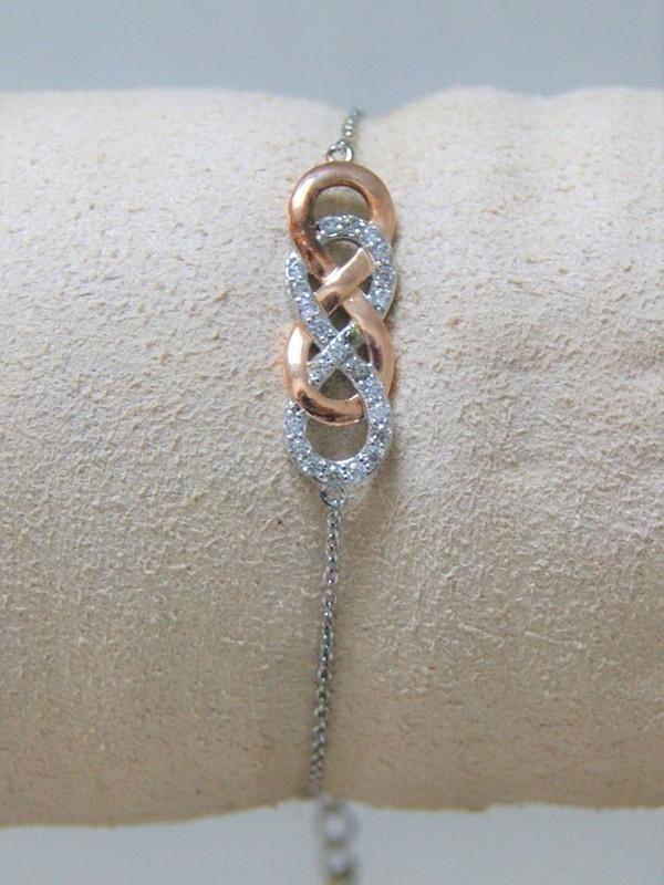Zilveren-rosé armband met zirconia, double infinity ontwerp