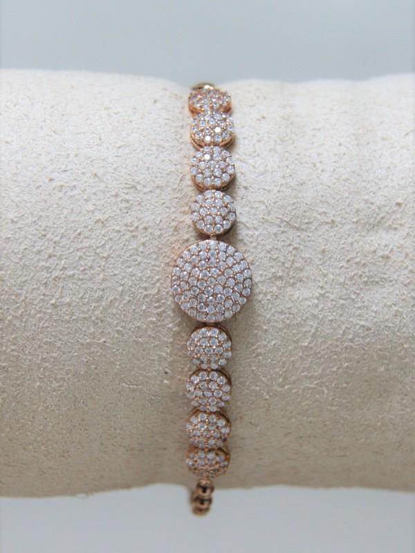 Rosé zilveren armband met zirconia