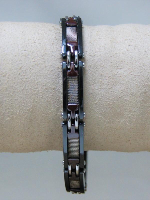 Bruin-zwart-grijs stalen armband