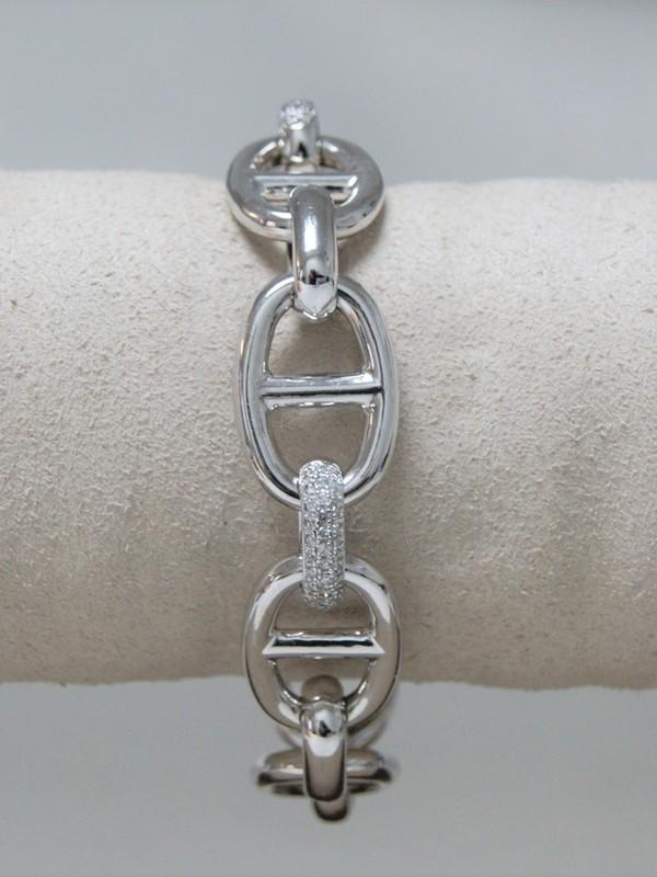 Brede zilveren armband met zirconia