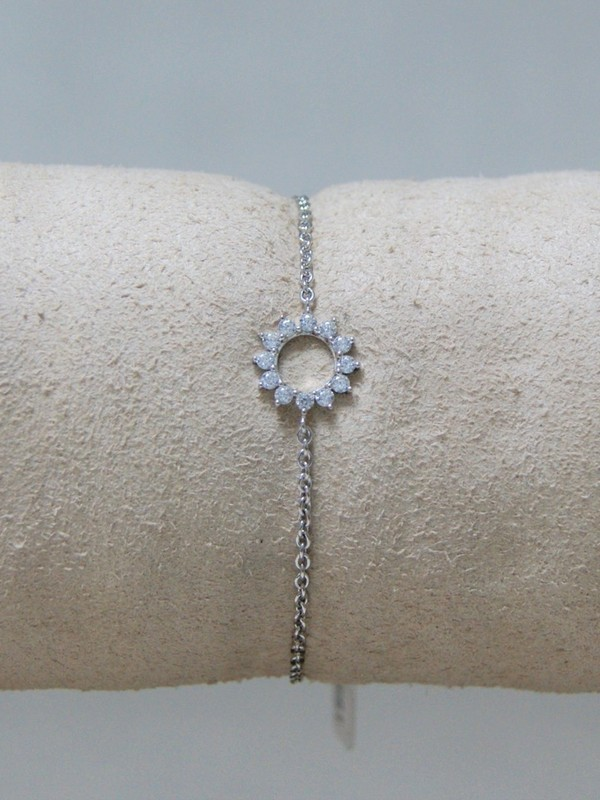 Zinzi zilveren armband met bloemetje van zirconia