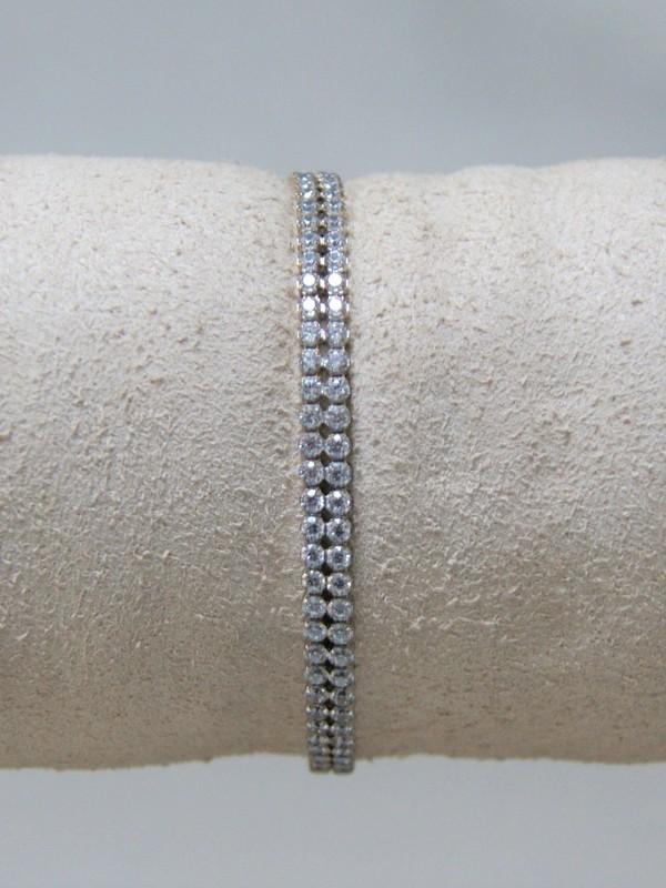 Zilveren armband met dubbele rij zirconia