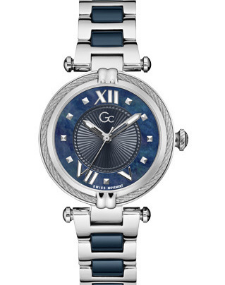 Gc Cablechic Quartz Zilver SS Bracelet Nachtblauw Y18019L7MF