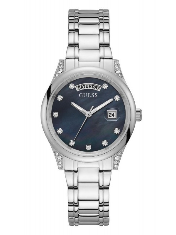 Guess Aura Quartz Zilver SS Bracelet Donkergroen GW0047L1