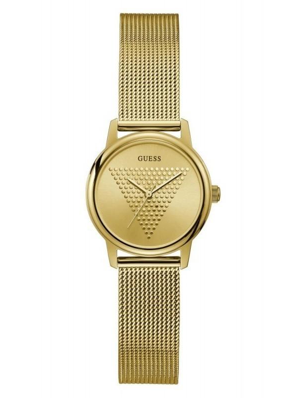 Guess Micro Imprint Quartz Plaqué SS Mesh Bracelet Goud GW0106L2