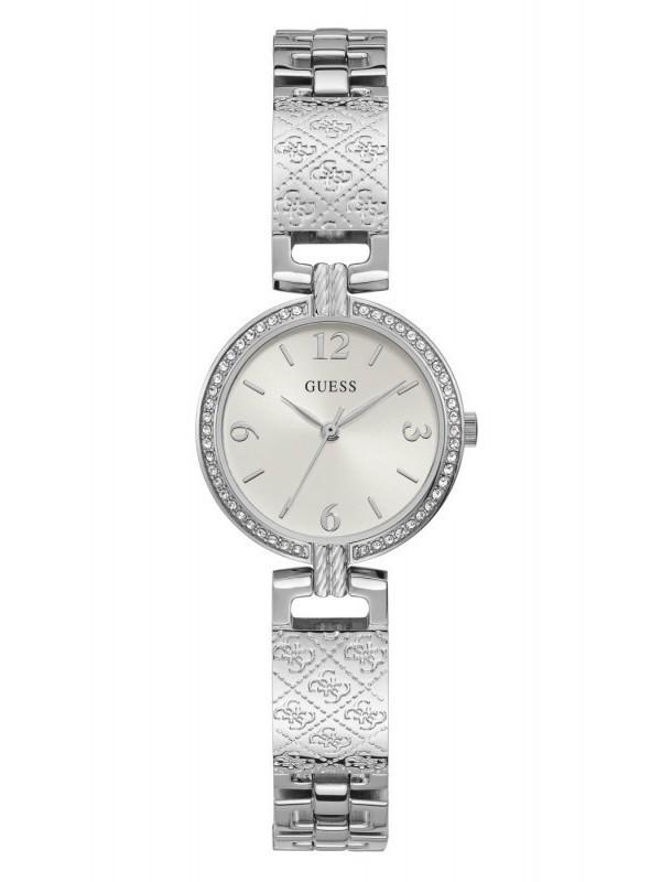 Guess Mini Luxe Quartz Zilver SS Bracelet Wit GW0112L1