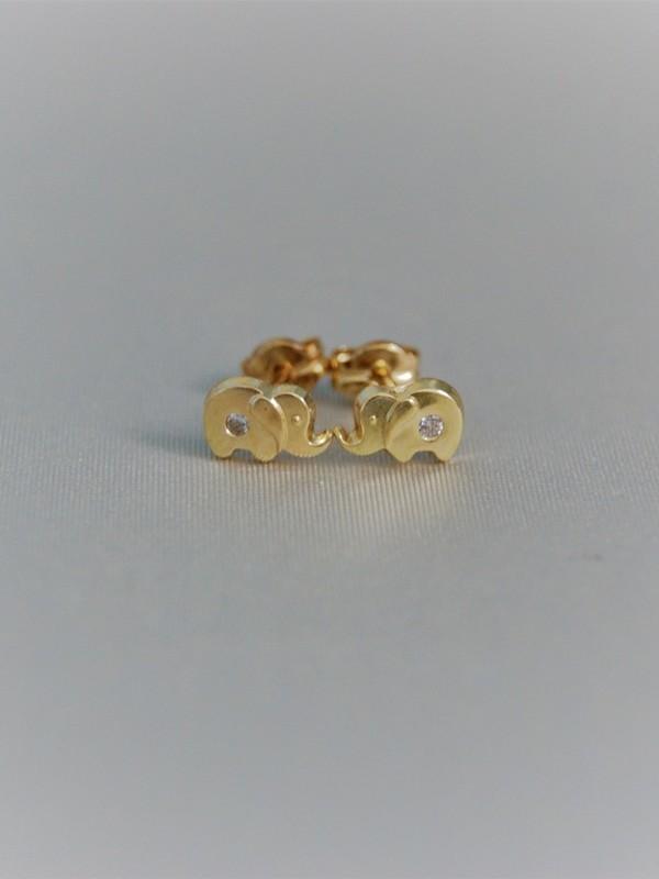 Gouden olifantjes oorringen met zirconium 2