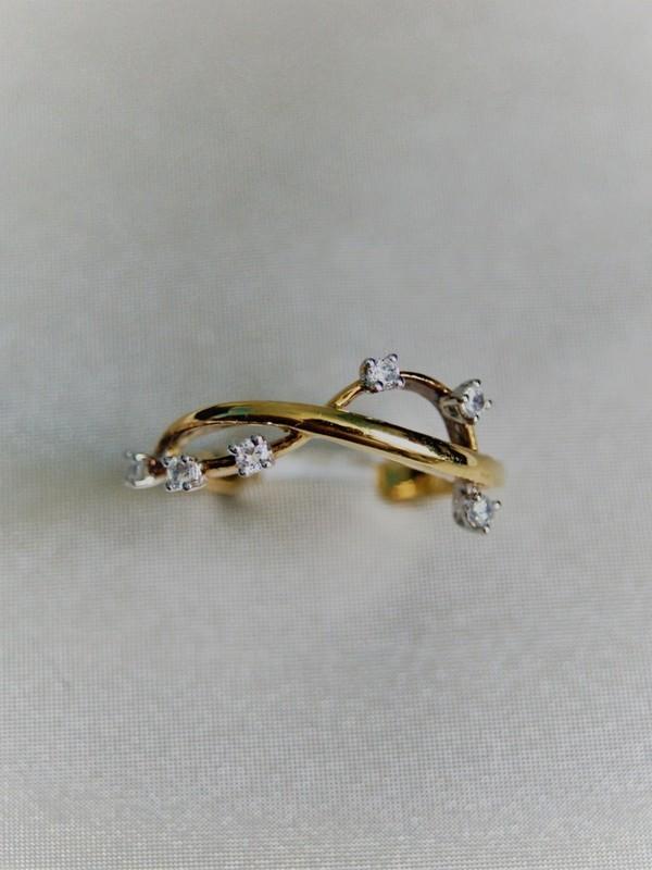 Gouden takvormige ring met zirconia