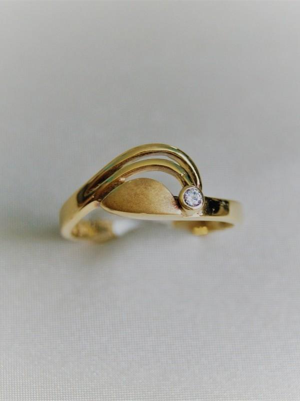 Gouden toi et moi ring met zirconium