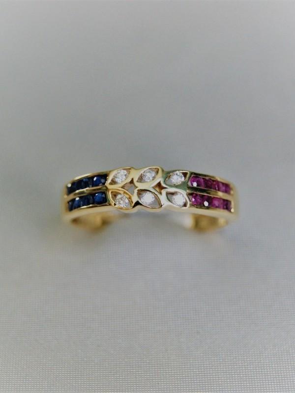 Gouden ring met kastgezette briljanten, robijnen en saffieren
